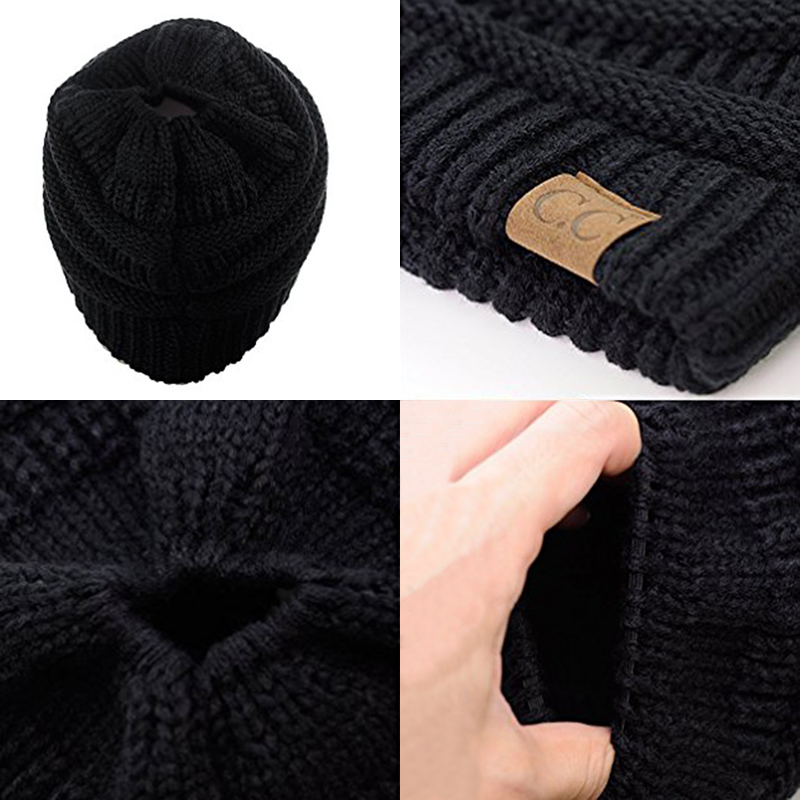 40997e9dc2e ... 2017 New Trendy CC Warm Winter Hat For Women Ponytail Beanie Stretch  Cable Knit Messy Bun Hats Soft Ski Cap Wholesale. Out Of Stock. 🔍  Previous. Next