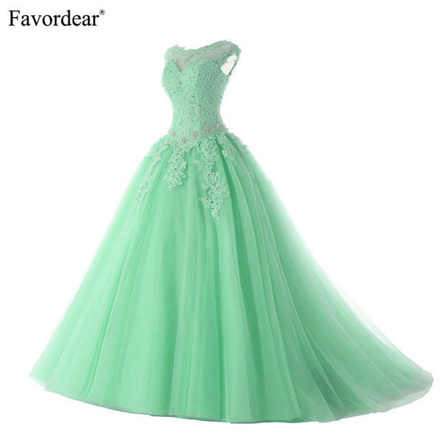7bf51d0185 Favordear 2019 Quinceanera Beading Sweet 16 Dress Vestidos De 15 Anos Cap  Sleeve Turquoise Mint Quinceanera