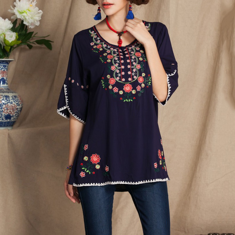 summer top Women Casual Vintage 70s Mexican Boho Ethnic Floral Embroidered Blouse Tops half butterfly sleeve o neck shirt
