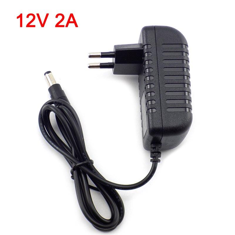 Gakaki 12V 2A 2000mA US EU Plug 100-240V AC à DC adaptateur d'alimentation chargeur adaptateur de charge pour LED interrupteur de lampe à bande