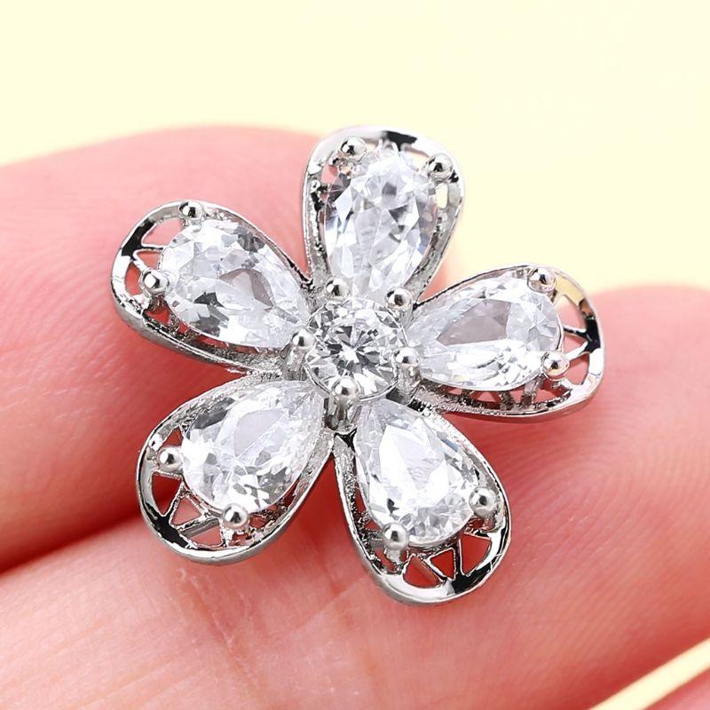 1Pc Belt Buckle Flower Decorative Luxury Glitter With Metal Loop Shank Hole Sewing Clip Buckle DIY 17mm Belt Buckle