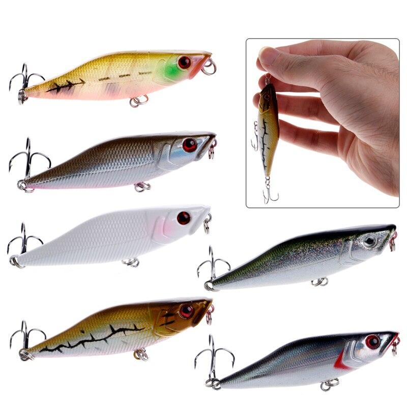 1PC 3D Eyes Fishing Lures Crankbait Plastic Popper Lure Deep Water Bass 7cm 7.2g