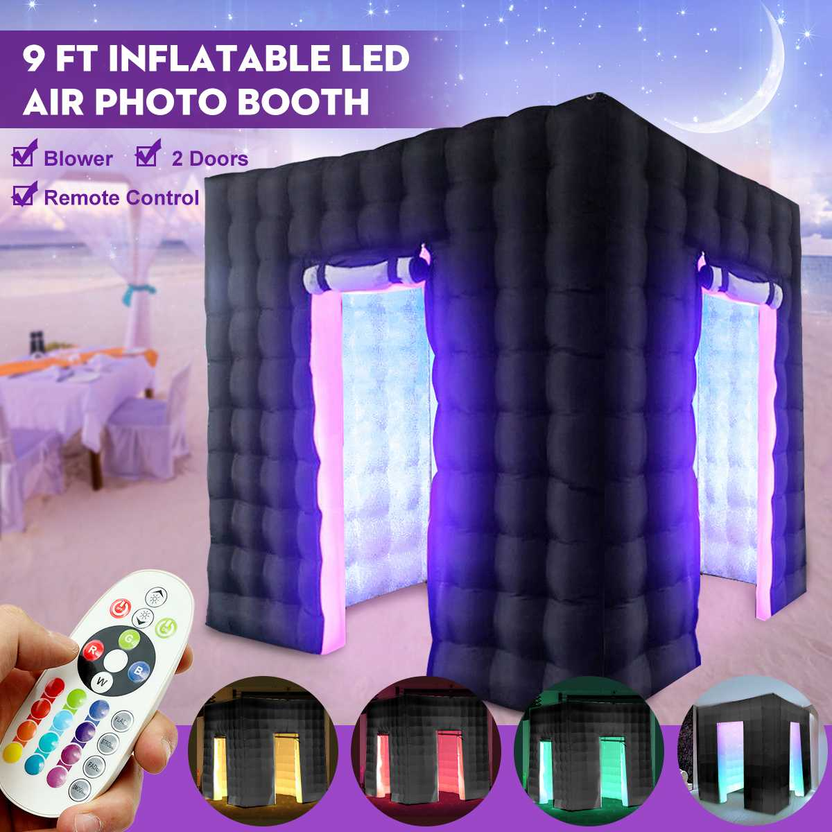 2.8x2.8x2.8 m gonflable Air cabine Photo professionnel gonflable rvb LED Photo cabine tente noir Double porte télécommande tente