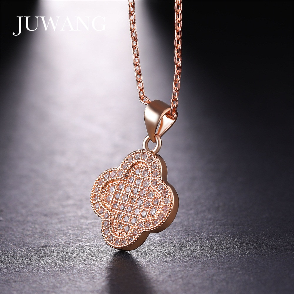 JUWANG Four Leaf Clover Rose Gold Color Necklaces & Pendants for Woman Girl Elegant Choker Necklace Jewelry Gift Wholesale