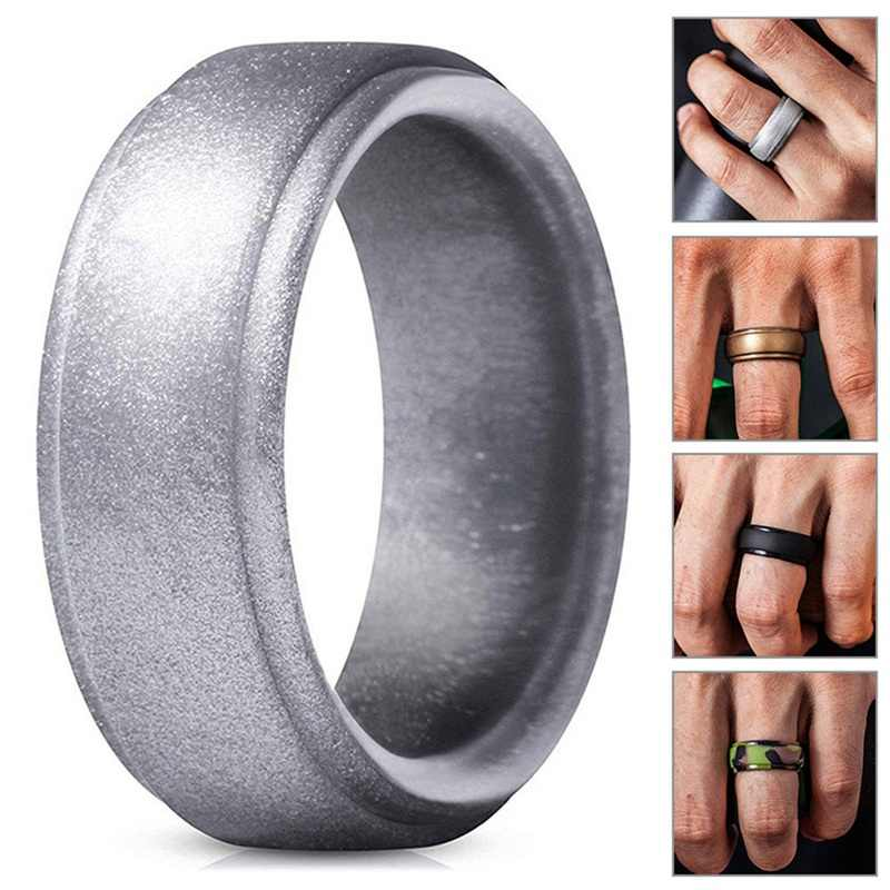 1PC Arc Stepped Silicone Rings Men Outdoor Sports Ring Business Gentlemen Party Gift Fashion Jewelry Accessories Wholesale New