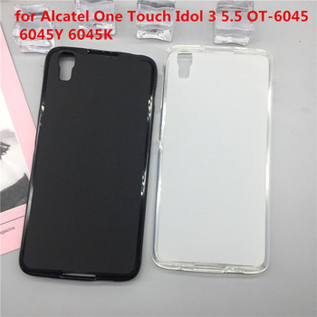 Case Soft Silicon Phone Para for Alcatel One Touch Idol 3 5.5 OT-6045 6045Y 6045K Luxury TPU Cover Shell Black Cases Coque image