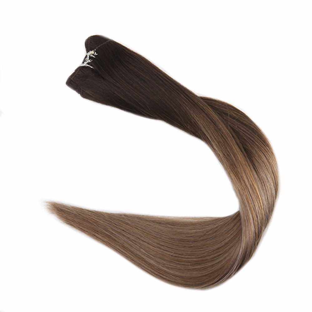 Full Shine Balayage Human Hair Weft Color #2 Darkest Brown Fading To #6 And #18 100g 100% Remy Hair Bundle Sew In Extensions