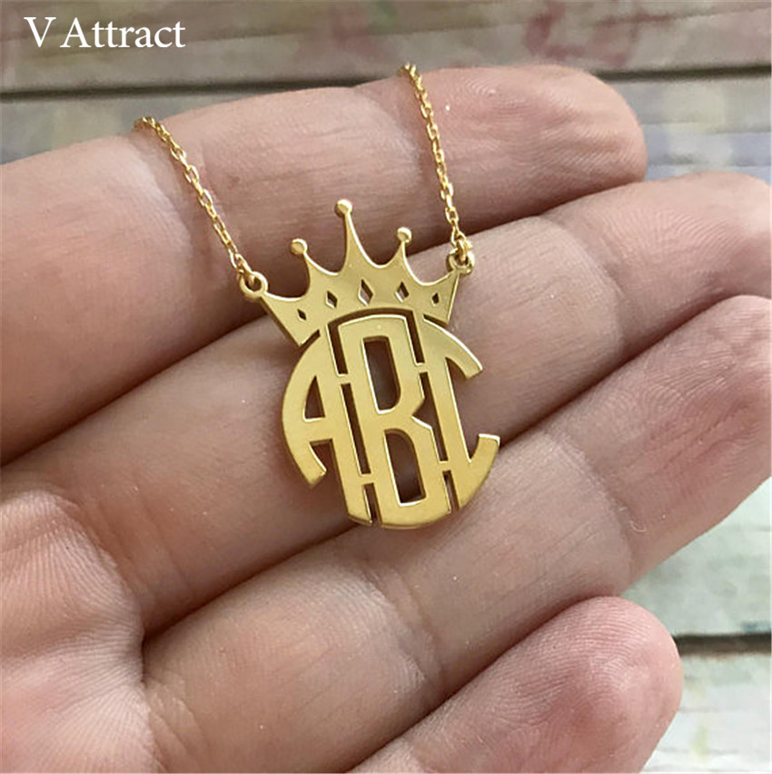 909d991139f9 Joyería personalizada nombre de corona monograma collar mujeres hombres  joyería plata Rosa oro Ketting Erkek Kolye mejor amigo regalo