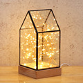 Romantic Creative Gift Spark Glass Wood Led Table Lamp For Wedding Deco Bedroom Christmas Gift Present 2328