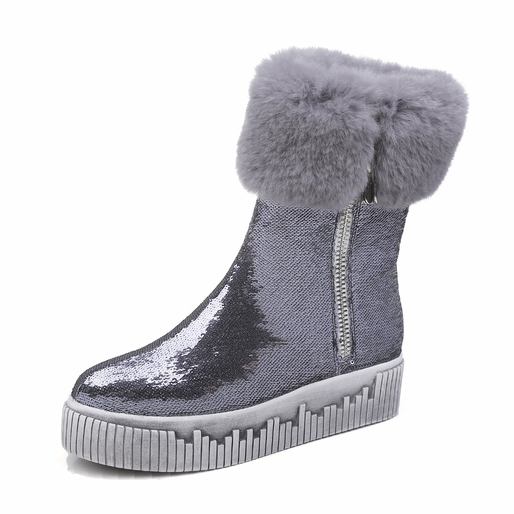 Women Winter Plush Leather With Fur Thick Warm Electrocardiogram Snow Boots Casual Flat Anti Wool Lady Snow Boots 1112 winter hats skullies beanies hat for men women wool knit warm plush scarf caps balaclava mask gorras bonnet knitted snow ski hat