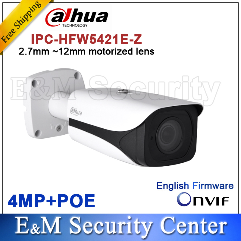 Original Dahua DH-IPC-HFW5421E-Z CCTV IPC 4MP POE HD 2.7mm ~12mm motorized lens WDR Network IR Bullet Camera IPC-HFW5421E-Z free shipping dahua cctv camera 4k 8mp wdr ir mini bullet network camera ip67 with poe without logo ipc hfw4831e se