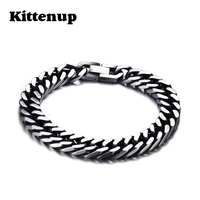 Kittenup Stainless Steel Link Chain Men Bracelet Silver Color Cool Hip Hop Rock Male Jewelry Gifts