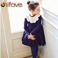 Chifave 2015 детская Мода Осень Платье Детей Девушки Принцесса Стиль Хлопок Платье Девочки Милые Кружевной Воротник Осенние Одежды