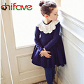 chifave 2017 Fashion Children's Autumn Dress Kids Girls Princess Style Cotton Dress Little Girls Cute Lace Collar Autumn Clothes