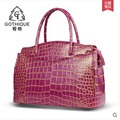 Gete 2017 new hot free shipping luxury Siamese crocodile belly women handbag 24k gold brush business leisure travelers women bag