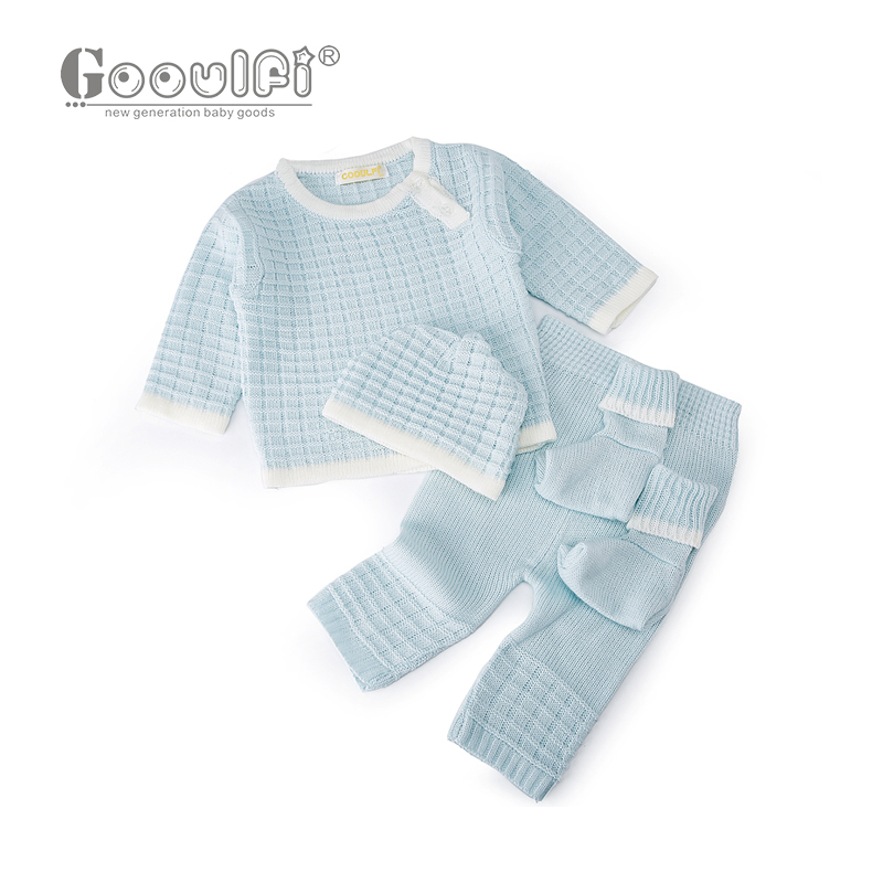 Gooulfi Gooulfi Baby Girl Boy Set Clothing Sweater 4pcs Pullover Top Pant Cap Booties Knit Newborn With Sock Infant Baby Girls