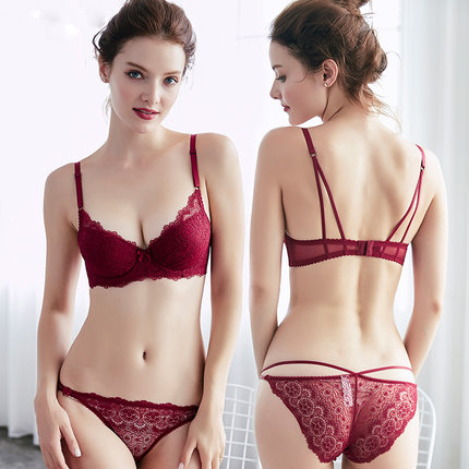 Sexy Lace Embroidery Push Up Bra Set For Small Chest Women Lady Cute Sexy  Underwear Satin Lace Embroidery Bra Sets With Panties 3bbfbdd7d