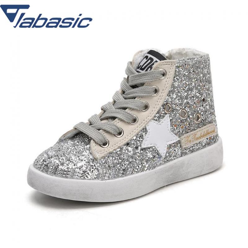 где купить JABASIC Glitter PU Sneakers Children Star Glitter High Top Trainer Baby Girl Casual Flat Toddler Kid Sport Shoe Scarpe Bambini дешево