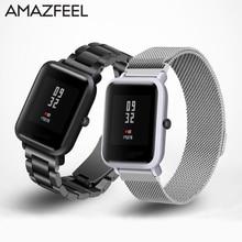 Купить с кэшбэком Watch Band 20mm For Amazfit Strap Steel For Xiaomi Huami Amazfit Bip Bit Youth Smart Watch Strap Metal Stainless Steel Bracelet