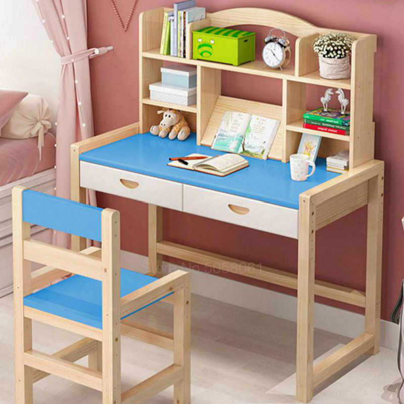 Solid wood children's study table primary school lift desk writing desk and chair set writing desk homework desk
