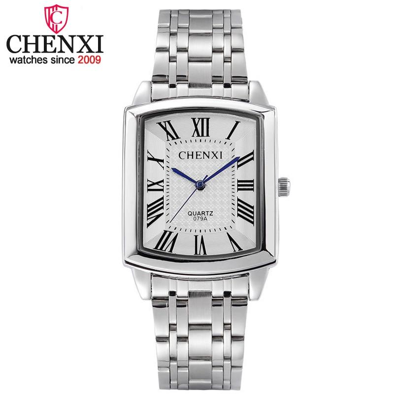 2018 New Fashion Couple Lovers Rectangle Quartz Watch Men Full Steel Watches Luxury CHENXI Brand Wristwatches