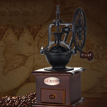 Manual Coffee Grinder Hand Crank Antique Cast Iron Mill With Grind Settings & Catch Drawer Gift