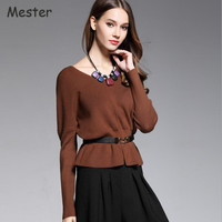 2017 Spring Autumn Fashion V Neck Ruffled Hem Sweater Women Elegant Drop Shoulder Long Sleeve Front Slit Knitted Peplum Top