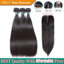 Brazilian Straight Hair Bundles With Closure SEXAY Non Remy Hair Weft Weave 100% Human Hair Extensions 3 Bundles With Closure(China)