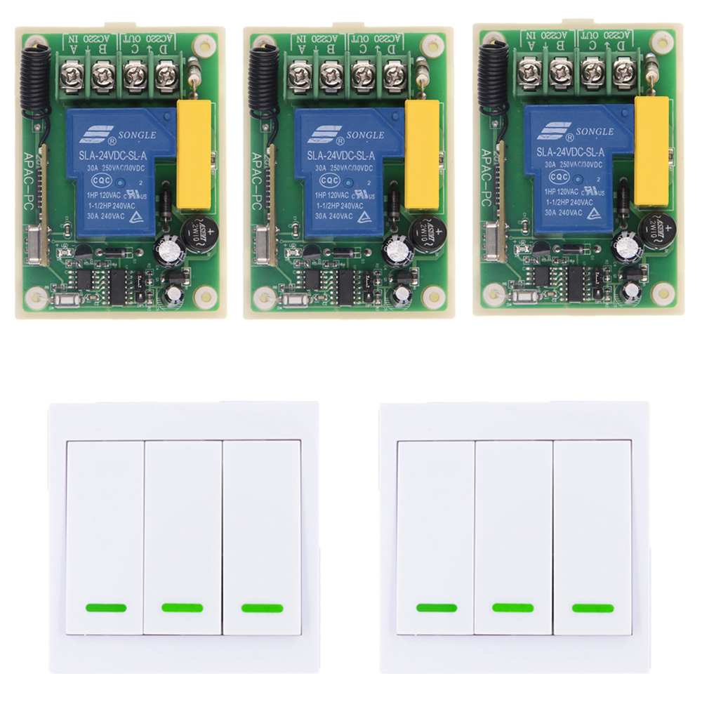 220V 30A 1 CH 1CH RF Wireless Remote Control Switch System For LED Bulb Light Strips,Receiver + 3CH 86 Wall Panel Transmitter 24v 1ch rf wireless remote switch wireless light lamp led switch receiver