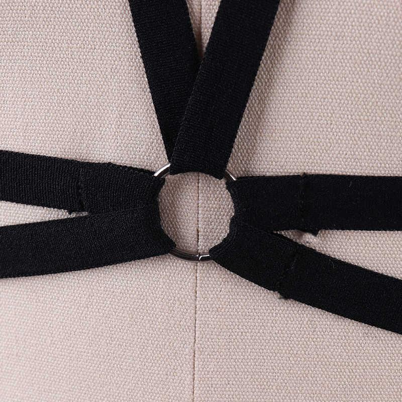 Черный Жесткий бюстгальтер в виде пентаграммы Харадзюку Готический бондажный бюстгальтер Для женщин фетиш одежда укороченный топ-боди полиэстер с рисунком пентаграммы бюстгальтер DS008