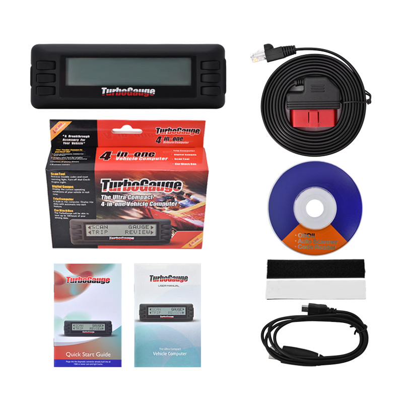 OBD Turbogauge IV 4 in 1 car computer OBDII/EOBD car trip computer/Digital Gauges/scan gauge/ car scan tool via free ship car obd scan diagnostic interface scan tool blue