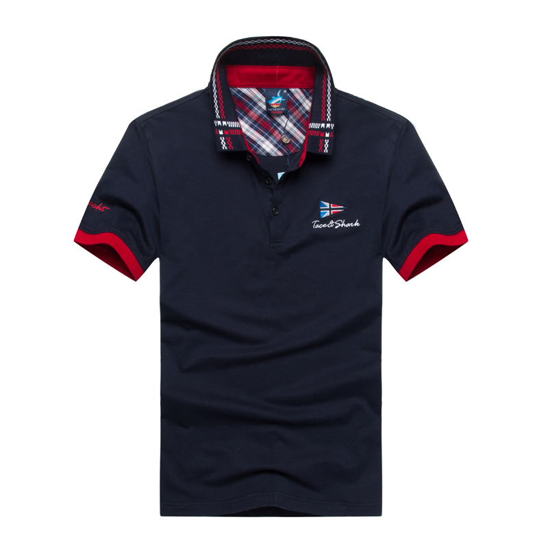Polo   hommes chemise brand Tace & Shark   polo   shirt men high quality solid color lapel embroidery business casual   polo   men