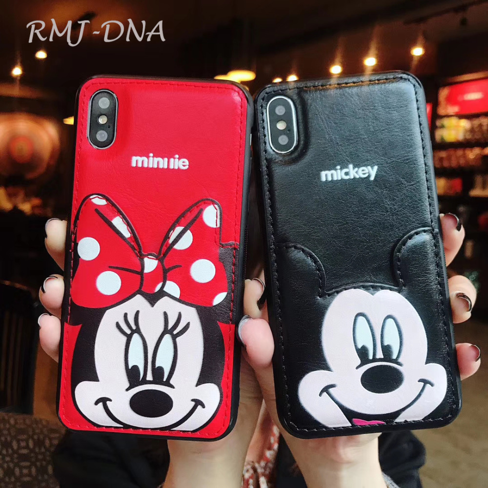RMJ-DNA <font><b>Mickey</b></font> Minnie Phone Case For <font><b>iPhone</b></font> X 6 <font><b>6S</b></font> 8 7 Plus PU Leather Cartoon Soft Back Cover For <font><b>iPhone</b></font> 7 <font><b>6s</b></font> XR XS MAX <font><b>Coque</b></font> image