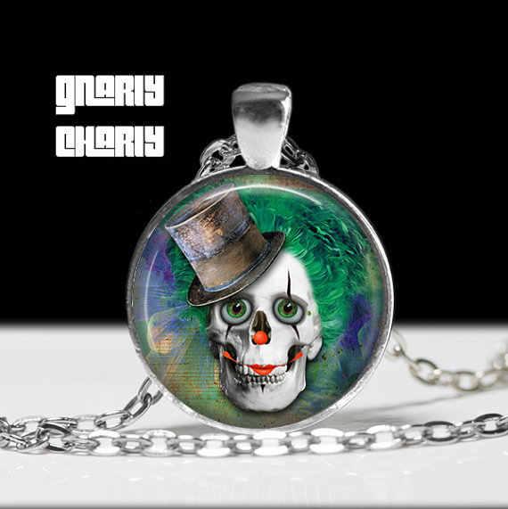 Steampunk handmade Clown czaszka w cylinder naszyjnik 1 sztuk/partia brązu lub srebra szkło wisiorek – biżuteria