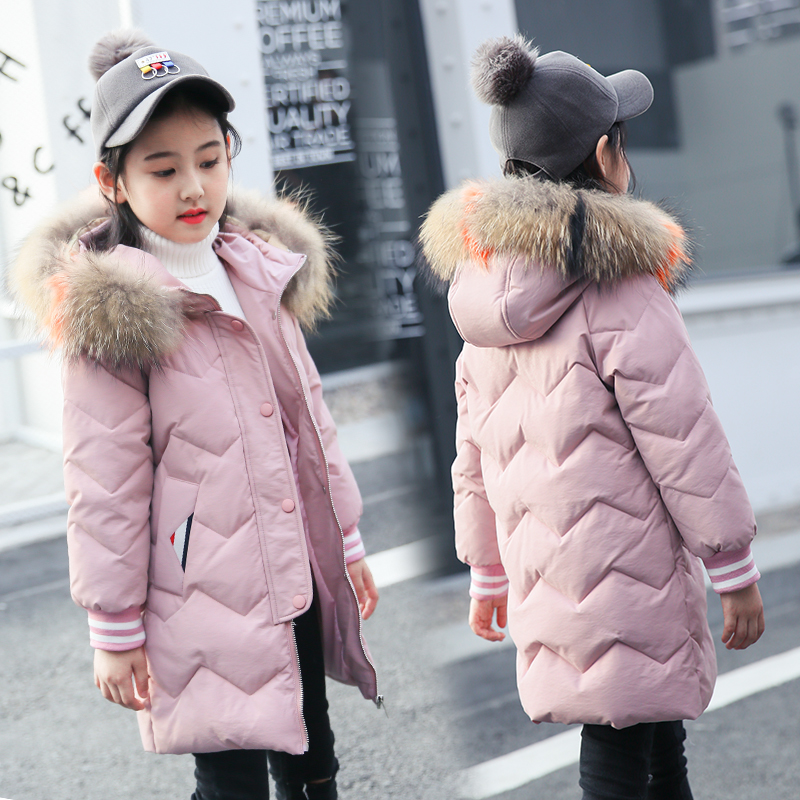 XYF9975 Girl Winter 80% White Duck Down Coat Child Big Fur Collar Keep Warm Thick Hooded Jacket Long Outerwear kids Windbreaker 2018 cold winter warm thick baby child girl hoody long outerwear pink duck down