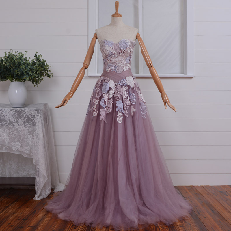 sweetheart vestidos de festa sexy long   prom     dresses   lace appliques 2015 new fashionable a-line Special Occasion evening   dress