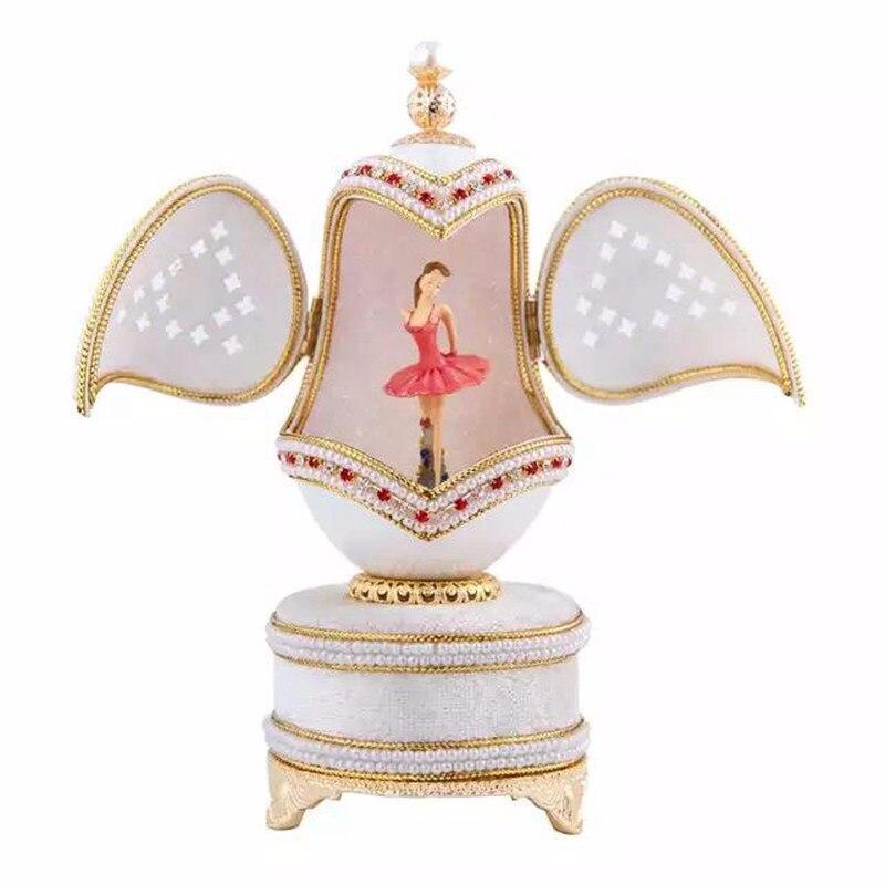 High Quality Luxury White Royal Music Box Eggshell Dancing Ballerina Musical Box Wedding Souvenir Music Box For Girls Women Gift