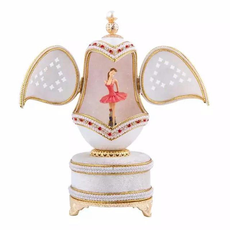 Caja de música real de lujo de alta calidad blanco cáscara de huevo - Decoración del hogar