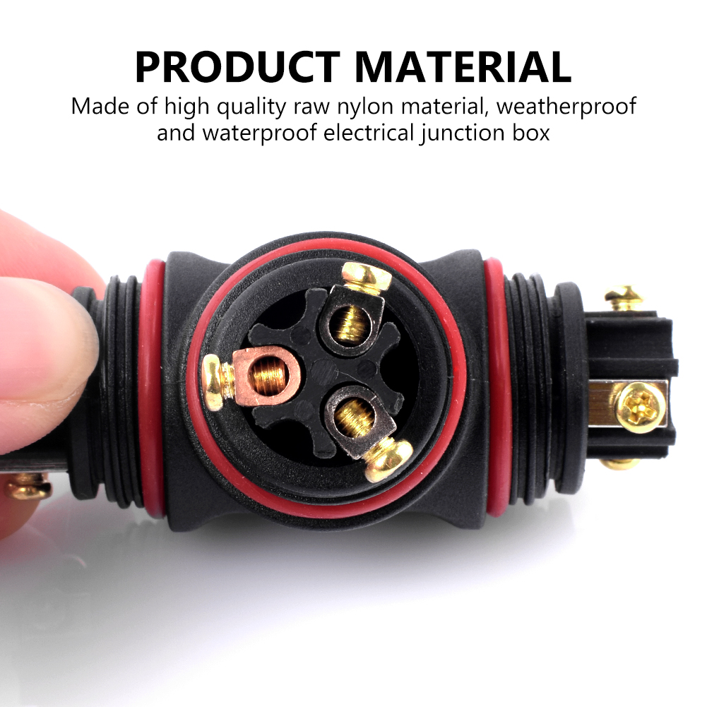 Tsleen T Straight Shape Junction Box Connector 2 3 Pin 250v Cable Home Wiring 1 X Waterproof