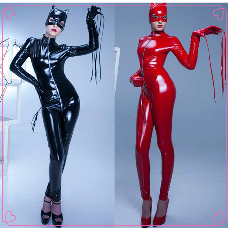 Black Tigh PVC Leather Catsuit Exotic Sexy Zipper Open Crotch Stretchable Bondage Jumpsuit Catwomen Clubwear Cosplay Costume