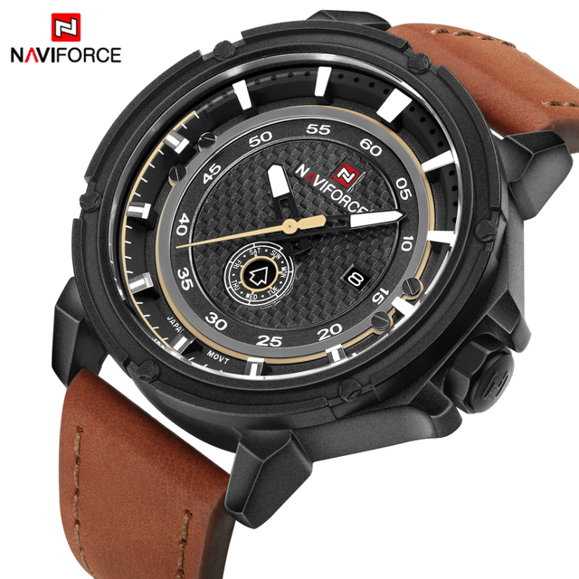 Watches Men Top Brand NAVIFORCE Men's Sports Watch Leather Waterproof Quartz Watch Military Army Wrist watch Relogio Masculino