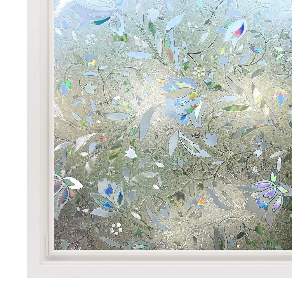 Nova flor de tulipa 3d estático cling decorativo raamfolie privacidade gravado filme janela vidro vinil viniles para cristal comprimento 150cm