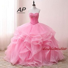 Debutante-Gowns 16-Quinceanera-Dress Party Sweet Vestido ANGELSBRIDEP Custom No Tiered