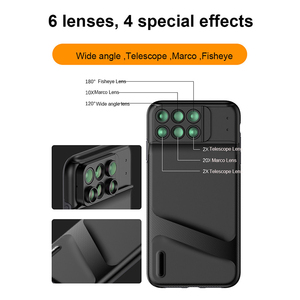 Image 5 - New For iPhone XS Max Dual Camera Lens 6 in 1 Fisheye Wide Angle Macro Lens For iPhone XS XR Xs Max Telescope Zoom Lenses + Case