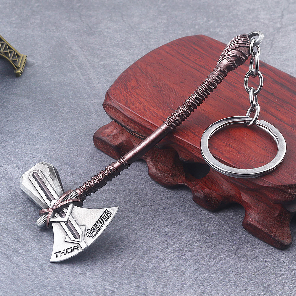 Marvel Thor Axe keychain Avengers Infinity War Superhero Black Panther Keychain Key Ring Chaveiro Mask Key Chain Jewelry