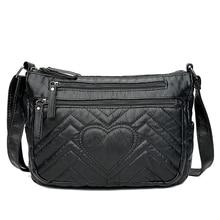 New Burlie ladies casual Hobos Women Messenger Bags Crossbody Soft washed PU Leather Shoulder Bag Black Fashion Female Handbag
