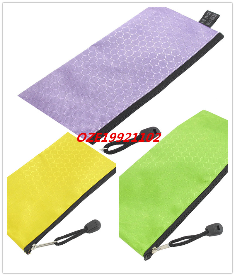 1 PCS PVC Canvas Zippered Hex Pattern Paper Invoice Pen Bag Tool Holder Yellow Purple Green