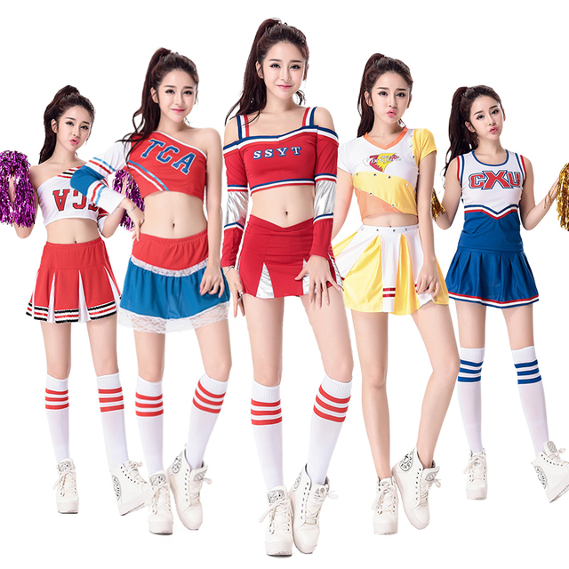 Sexy High School Cheerleader Costume Cheer Girls Uniform Party Outfit with Pompoms Performance Wear Colorful  sc 1 st  AliExpress.com & Sexy High School Cheerleader Costume Cheer Girls Uniform Party ...