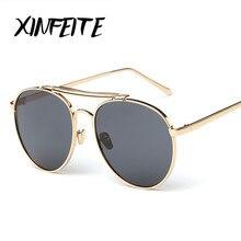 XINFEITE 2017 New Sunglasses Female Brand Designer Steam Punk Metal Women Men Retro High Quality Coating Mirrored Sun Glasses
