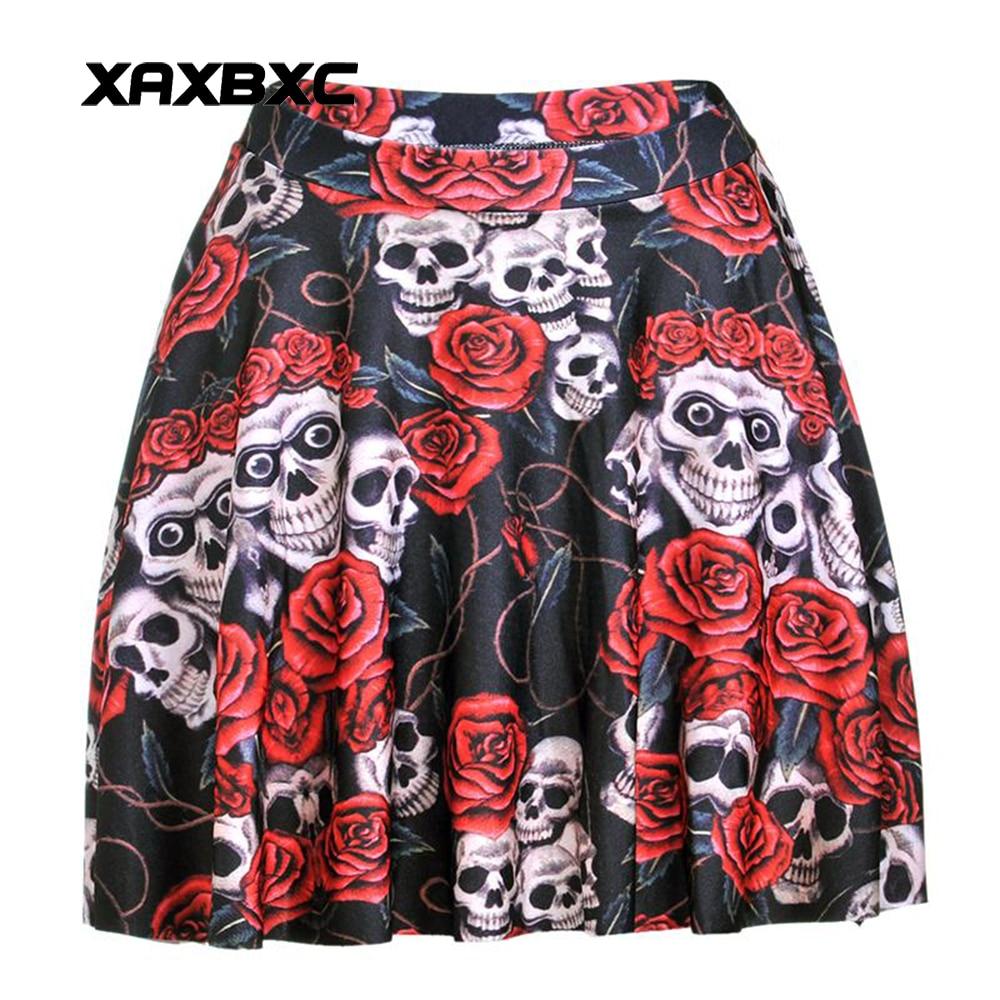 NEW 1180 Summer Sexy Girl Halloween Skull Rose Flower Printed Cheering Squad Tutu Skater Women Mini Pleated Skirt Plus Size